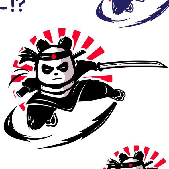 Anime design with the title 'Samurai Panda '