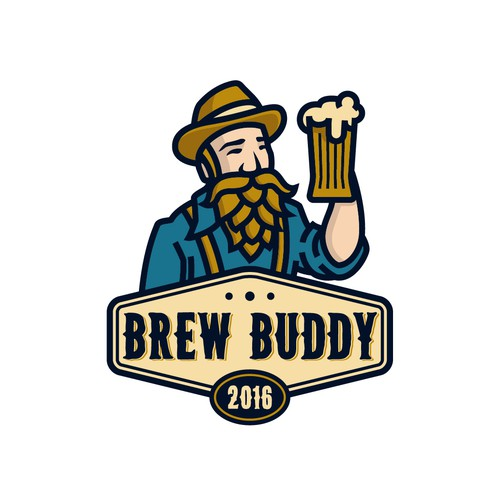 Blue and yellow logo with the title 'Logo concept for Brew Buddy'