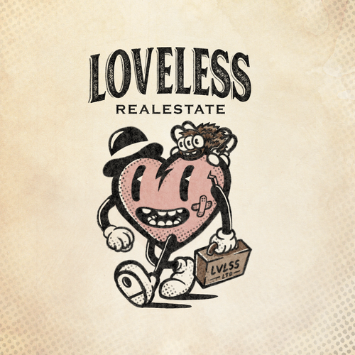 Top hat design with the title 'Loveless logo design'