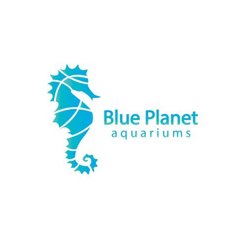 Aquarium design with the title 'Blue Planet Aquariums'