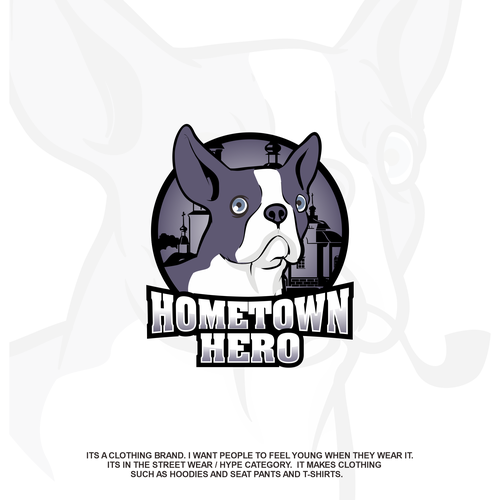 French bulldog design with the title 'HOMETOWN HERO'