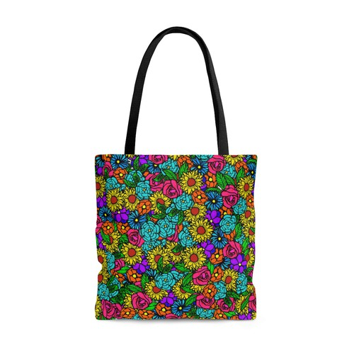 Bold artwork with the title 'Floral tote'