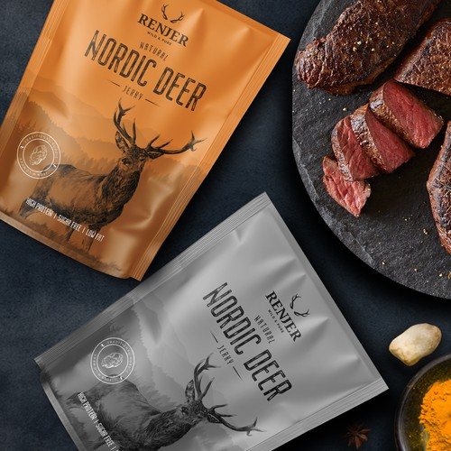 Elk design with the title 'Packaging for World's leading WILD GAME JERKY Brand'