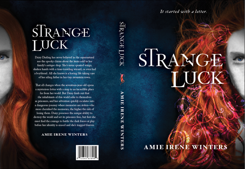 Teen book cover with the title 'Create an eye-catching, strange, and mysterious book cover for YA Fantasy novel'
