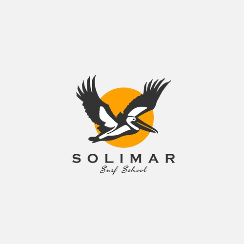 Flying goose logo with the title 'Creating logo for Solimar'