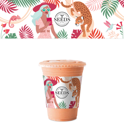 Smoothie cup sleeve design with custom illustration.