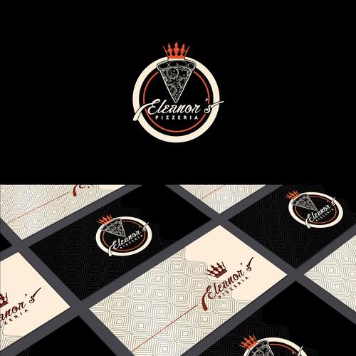 Round design with the title 'Eleanor's pizzeria'
