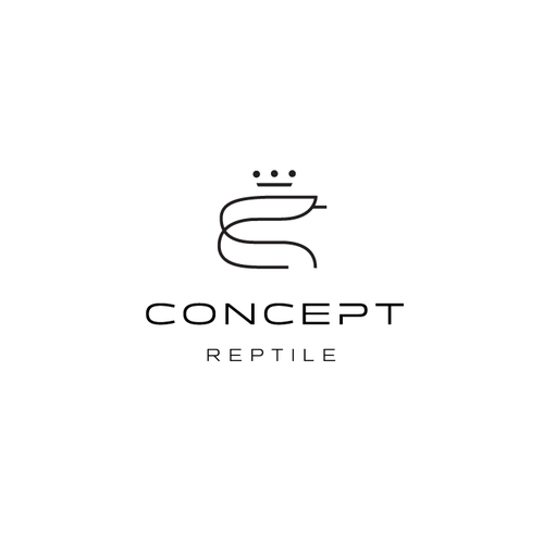 Reptile design with the title 'Minimal line-drawn mark for a python care company'