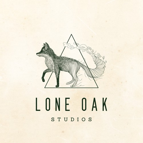 Whimsical design with the title 'Fox design for Lone Oak studios'