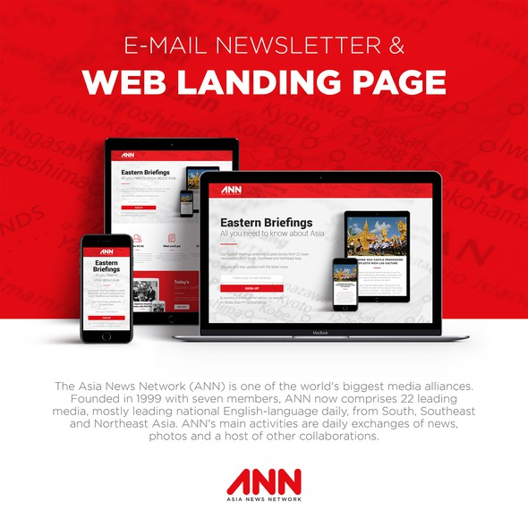 Journalism design with the title 'E-mail Newsletter & Web Landing Page'