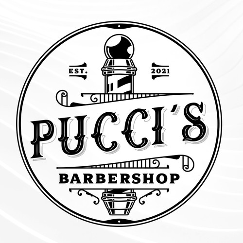 Barber design with the title 'Pucci's Barbershop'