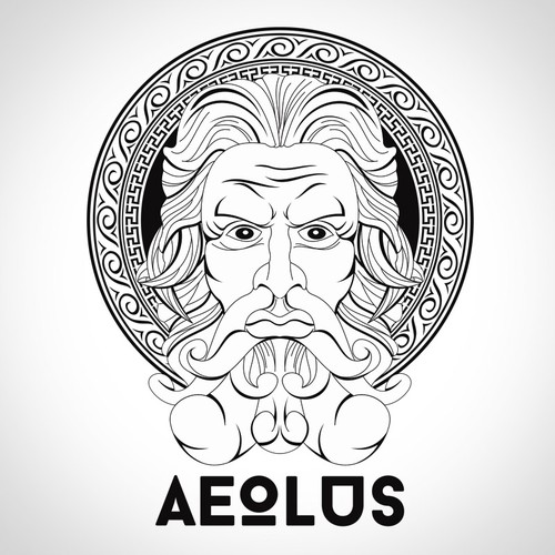 Zeus design with the title 'Create Versace Style Illustration for a Vape Brand'