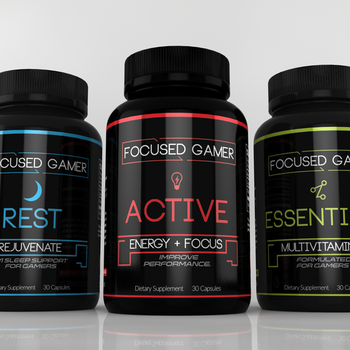 Clean label with the title 'label for Focused Gamer'