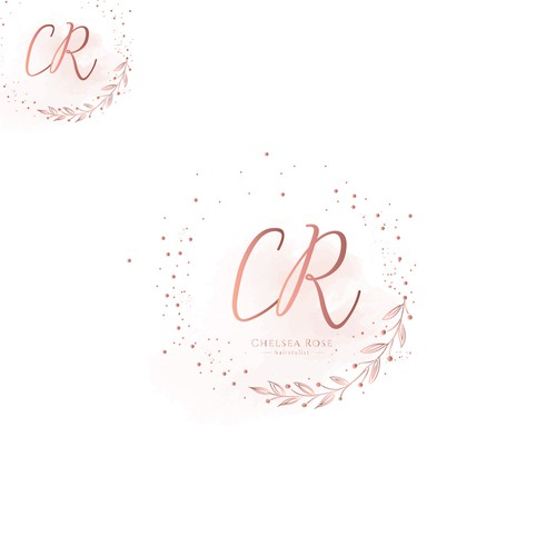 Gold glitter logo with the title 'Logo concept for Chelsea Rose bridal and hairstylist'