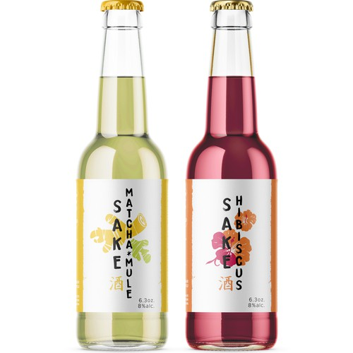 Japanese label with the title ' Sake drinks, new flavours '