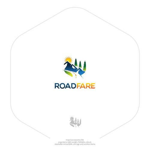 Road brand with the title 'Logo of products for travel enthusiasts'