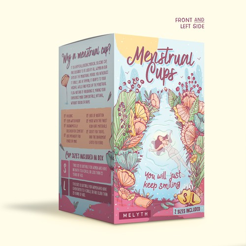 Flower packaging with the title 'Illustrated and feminine design for menstrual cups package'