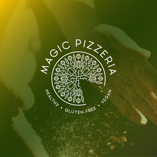 Gluten-free logo with the title 'Logo for unique pizzeria concept'