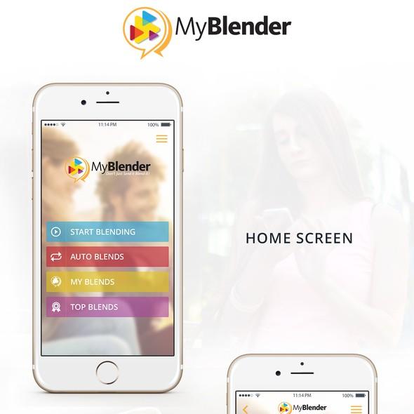 Image design with the title 'MyBlender-IPhone App Design'