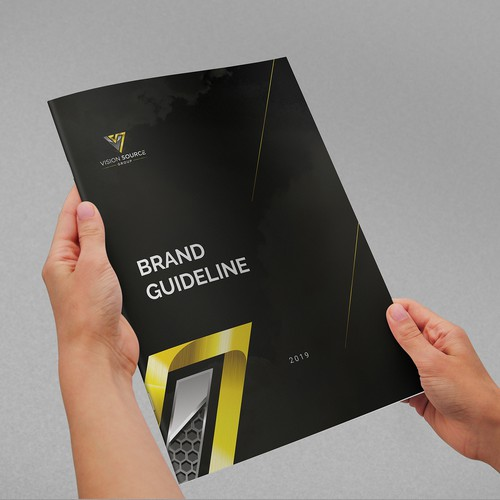 Style guide design with the title 'Brand Guidelines for Vision source'