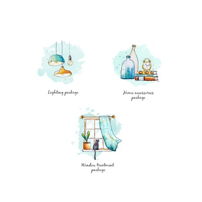 Fun icons with hand-drawn look, for new custom interior design online business