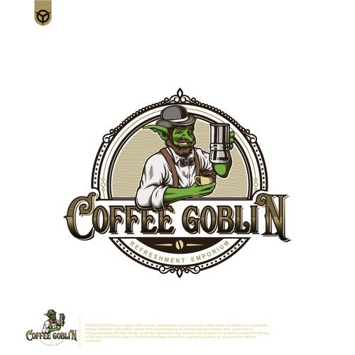 Goblin logo with the title 'coffee goblin'