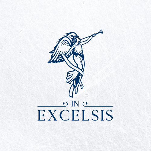 Angel heart logo with the title 'in excelsis'