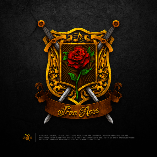Medieval logo with the title 'Iron Rose'