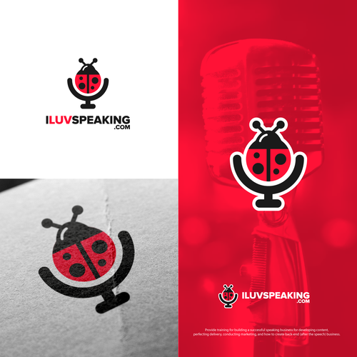Microphone logo with the title 'Bold logo for I Luv Speaking'