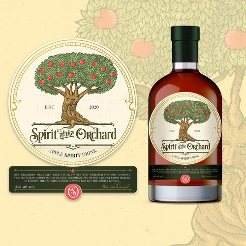 Ink design with the title 'Cider Label design - Spirit of the Orchard 🌳✨🍎'