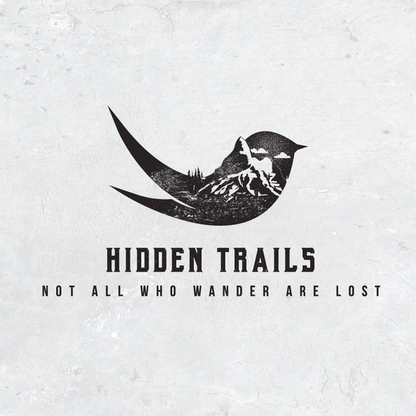 Eco-friendly logo with the title 'Hidden Trails'