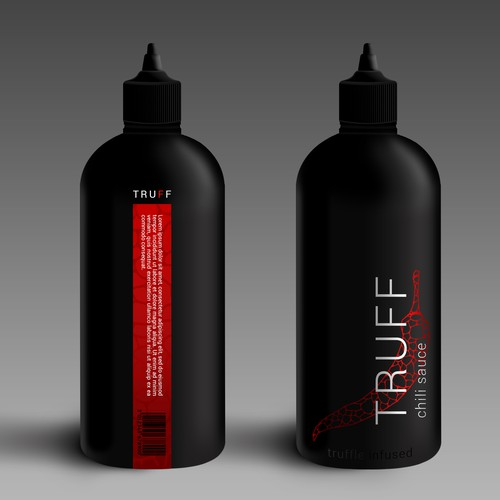 Sauce packaging with the title 'Design an eye catching bottle for a high end hot sauce brand'