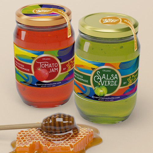 "Tomato label with the title 'Label for ""Salsa Verde"" and ""Tomato Jam""'"