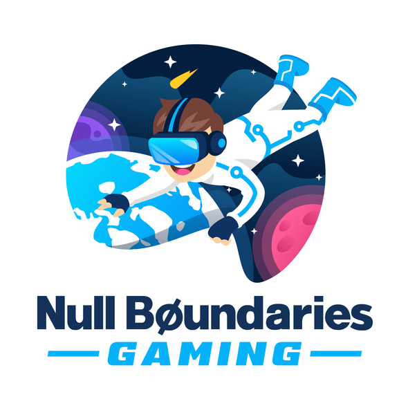 Floating design with the title 'Null Boundaries Gaming'