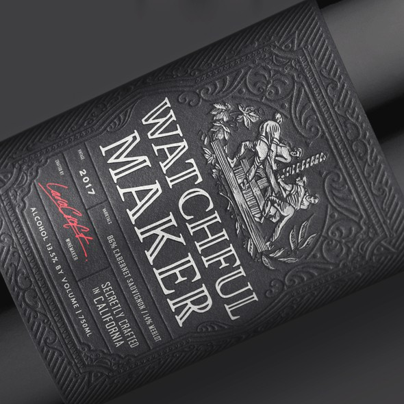 Silver label with the title 'Watchful Maker Wine Label Design'