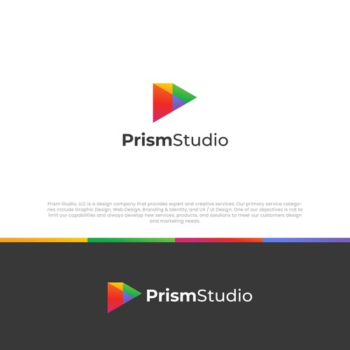 Prism design with the title 'prism logo'