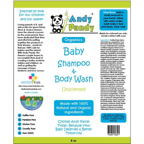 Baby label with the title 'Label concept for a brand of baby wash'