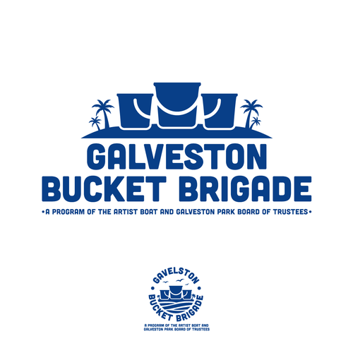 Bucket logo with the title 'Bold Logo for Gavelston Bucket Brigade'