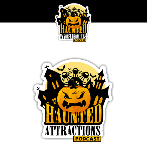 Angry logo with the title 'Haunted Attractions Podcast'