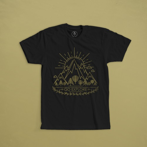 "Sun t-shirt with the title 'Print for t-shirt  for company Fara Kanna, means ""Go Explore"" in an old norse language.'"