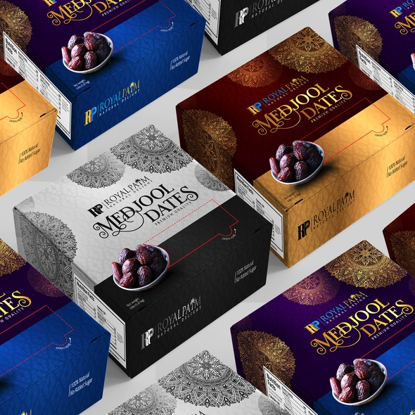 Royal design with the title 'Luxury Medjool Dates Box Packaging design'
