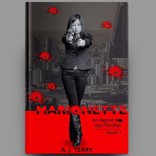 "Spy book cover with the title 'Book Cover for ""Marionette"" - Spy Thriller'"