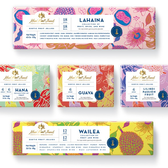 Bold packaging with the title 'Packaging design for exotic fruit jellies from Hawaii'