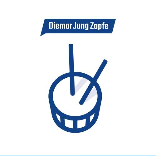 Blue artwork with the title 'Logo Illustration for Diemar, Jung & Zapfe Werbeagentur'