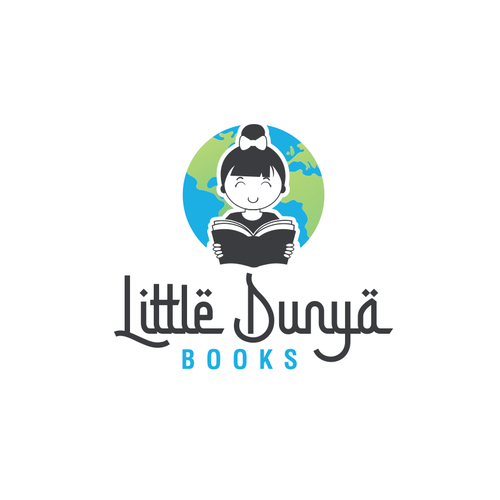 "Girl logo with the title '""Little Dunya Books"" Logo Design'"