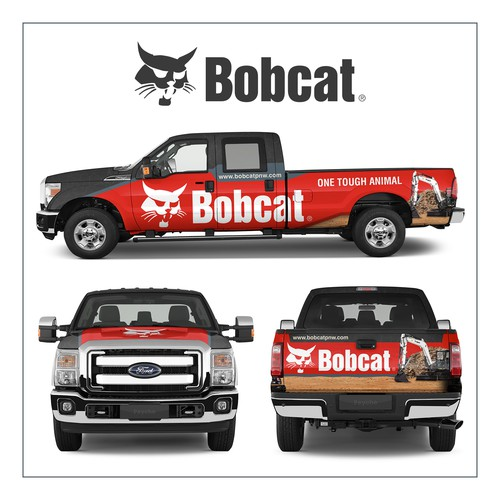 Vehicle graphic design with the title 'Bobcat of the Pacific Northwest Truck Design'