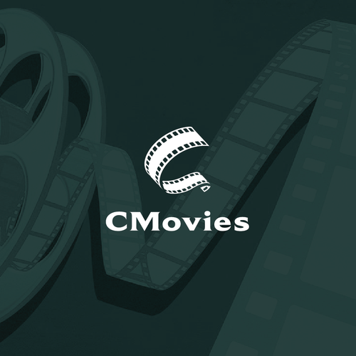 Filmstrip logo with the title 'Movies logo'