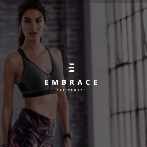 E logo with the title 'Embrace - Activewear'