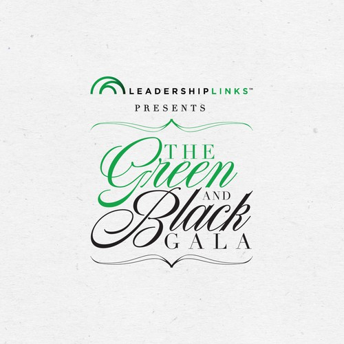 Corporate design logo with the title 'Winning design for The Green and Black Gala.'