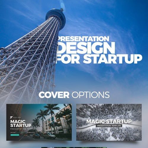 Presentation design with the title '99designs Presentation Template for Startups'